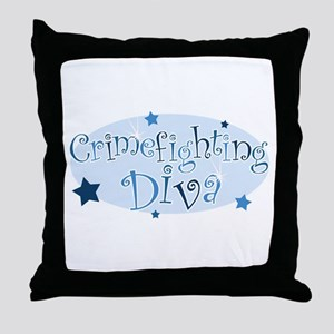 """Crimefighting Diva"" [blue] Throw Pillow"
